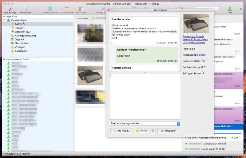 AnzeigenChef Nachrichten 800x516 - Software-Tipp - AnzeigenChef - professionelle Verwaltung von eBay Kleinanzeigen
