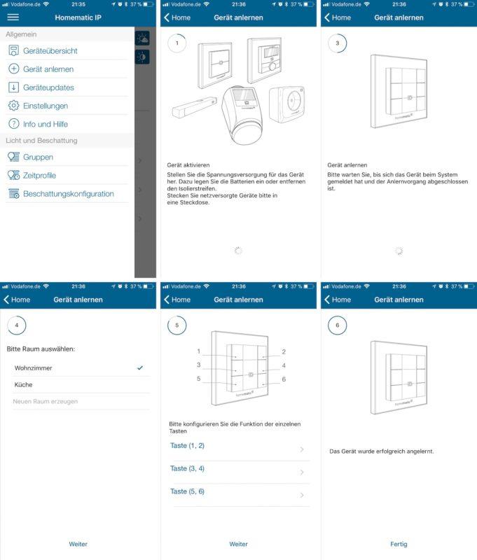 homematic ip wandtaster 6 fach mmip wrc6 anlernprozess ueber die app 681x800 - Kurztest – HomeMatic IP – Wandtaster 6-fach (HmIP-WRC6)