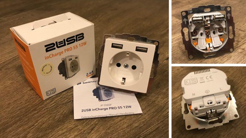 2USB inCharge PRO Lieferumfang und Detailbild 800x449 - Test - 2USB inCharge PRO - 2 USB-Ports mit max. 2.4A und einer Steckdose