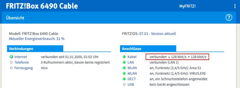 vodafone kabel deutschland fremdgeraet 128kbits 800x293 - Vodafone Kabel Deutschland - Störung - eigener Router / Fremdgerät - 128 kbit/s