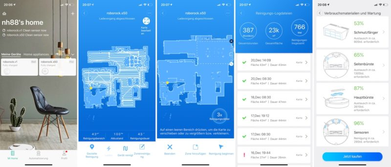 xiaomi roborock s50 app screenshots 800x342 - Test – Vorwerk Kobold VR300 Saugroboter