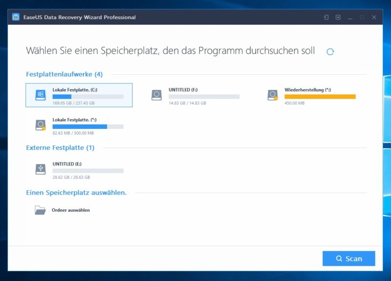 easeus data recovery wizard startscreen 800x576 - Test - Datenrettung mit EaseUS Data Recovery Wizard