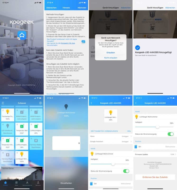 koogeek lb2 smart bulb wifi koogeek app 746x800 - Test – Koogeek LB2 E26 LED Lampe mit HomeKit-Unterstützung
