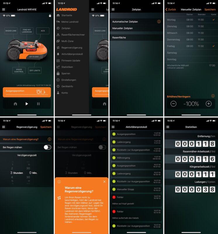 worx landroid m500 wr141e app zeitplan regenverzoegerung protokoll statistiken 746x800 - Test - Worx Landroid M500 2019 (WR141E) - Mähroboter