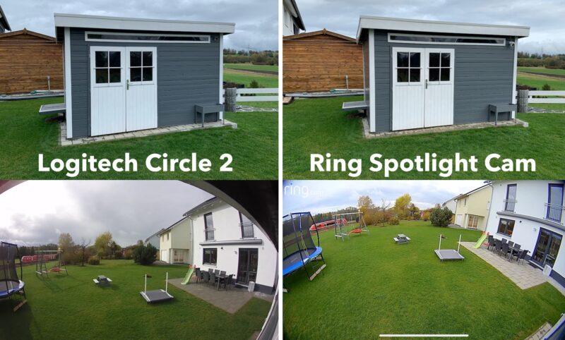 ring spotlight cam wired vs logitech circle 2 800x482 - Test - Ring Spotlight Cam Wired mit 140° Blickwinkel