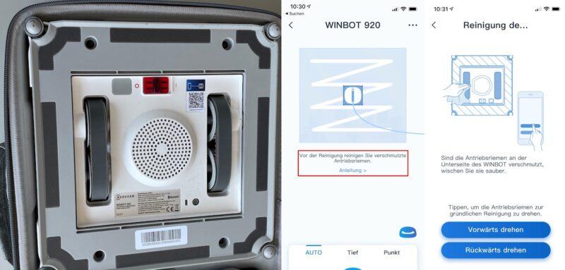 ecovacs winbot 920 ansicht unten antriebsriemen 800x383 - Test - Ecovacs WINBOT 920 - Fensterputzroboter