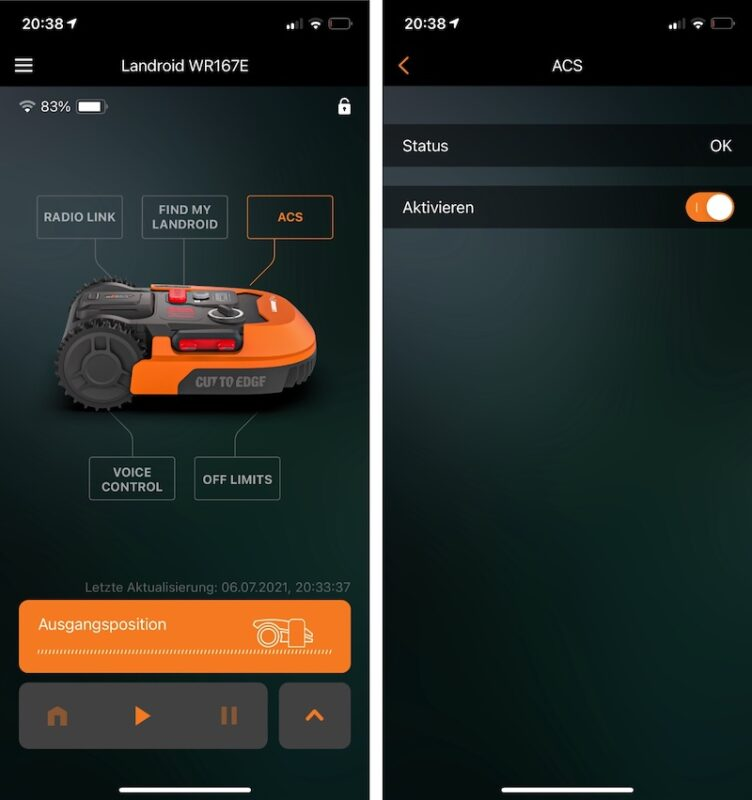 landroid wr167e m700 plus acs wa0860 app screenshot 752x800 - Test – ACS (Kollisionssensor) am Worx Landroid WR167E